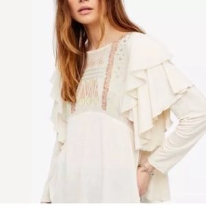 Free People Blouse Top Embroidered Ruffle 103K
